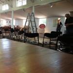 """Der Aufbau für das Konzert des Ensembles """"Kloppstock-Percussion"""" in der Wood-Lounge"""